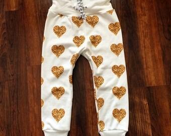 ORGANIC Drawstring String Cuffed Pants - Faux Glitter Hearts