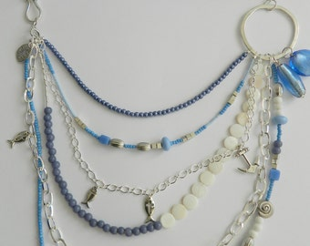 Blue and White Beaded Multi Strand Necklace with Fabric Strap and Mixed Beads