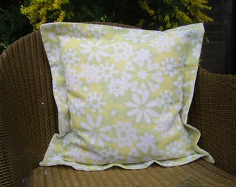 Summer, Lime, Yellow Flower Cushion Cover, Home Decor