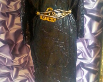 1980s dress, cocoon black with silver sheen dress, Size M