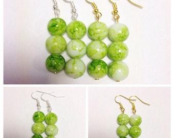 Lime Green Dangle Earrings | Lime Green Glass Beads | Lilly Rose
