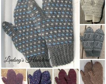 Wool Thrum Mittens,  Made to Order, Infant to Adult XL