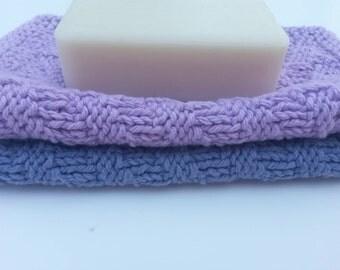 Purple Dishcloths,  Cotton Knit Dishcloths, Set of 2 Dishrags, Cotton Baby Washcloths, Knitted Kitchen Dishrag