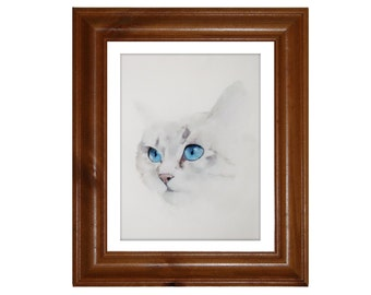 Cat Painting, Silver Tabby Cat Art Print on Watercolour Paper, Shipping included