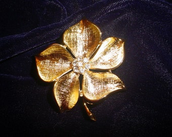 Vintage Gold-Tone Flower Brooch