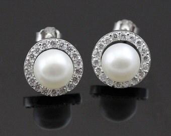 freshwater pearl earings,girls pearl earrings,half pearl earrings,pearl earring stud, buying pearl earrings,earring with pearls ER014