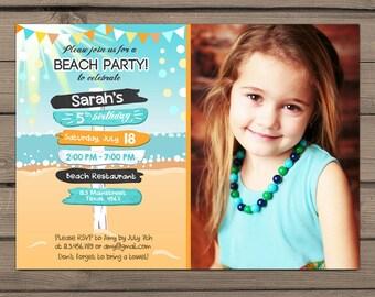 Beach Party Invitation Beach invitation Beach birthday invitation Beach Bash Summer invitation Buntings Confetti Digital PRINTABLE ANY AGE