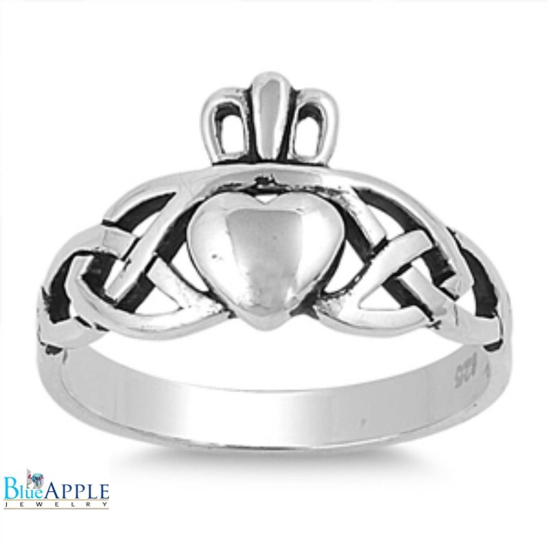 wedding engagement promise claddagh ring solid 925