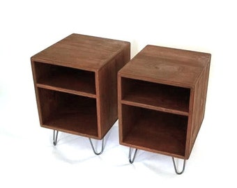 Mid Century Modern Side Tables Set, Rustic Modern Nightstand, Reclaimed Industrial furniture , Matching Nightstands, Bedroom Furniture