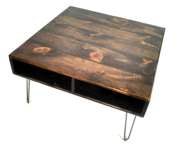 24quot x 24quot square reclaimed wood coffee table hairpin leg for 24 x 24 coffee table