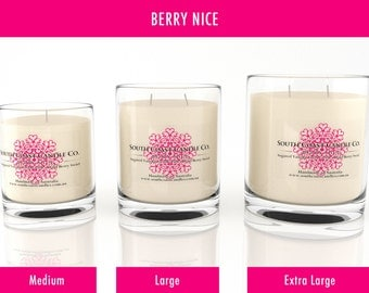 Berry Vanilla Scented Soy Wax Glass Jar Candles 3 Sizes