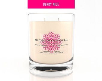 Scented Candle Soy Wax Glass Housed Jar Vanilla Wild Berry 420g Double Wick
