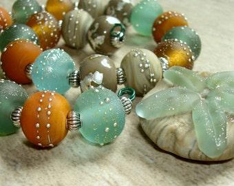SRA Handmade Lampwork Beads - Surf and Sand