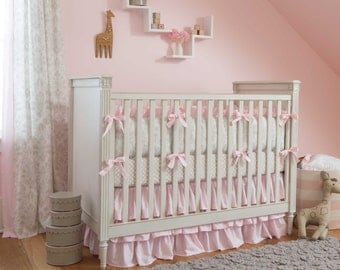 Girl Baby Crib Bedding: French Gray and Pink Damask 4-Piece Crib Bedding Set by Carousel Designs