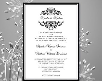 Printable Wedding Invitation Template Grace Black Editable Worddoc Instant Download Order Any