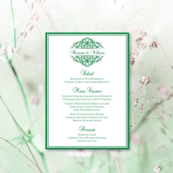 Printable wedding menu template grace emerald for Irish menu templates
