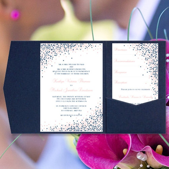 This printable wedding invitations set can be ordered in any one or two color combination. The Confetti design series is perfect for any season. Invitations