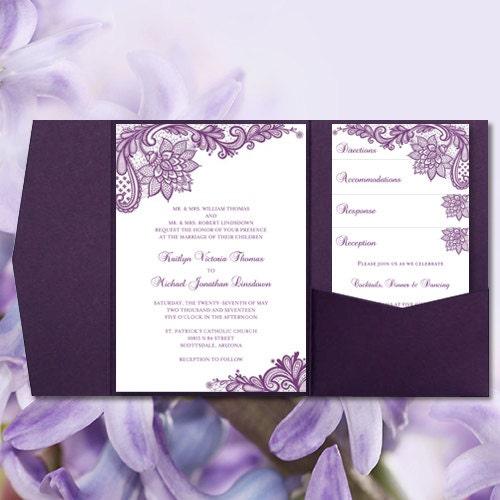 Pocket Fold Wedding Invitations Vintage Lace