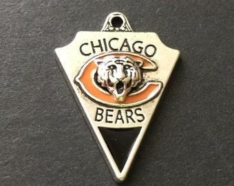 Chicago Bears, Football Charm, NFL Charm, Sports Charm, Enamel, Antique Silver