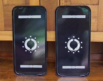 "Two Metal Enamelware Trays ~ 19"" x 9"" ~ Black and White ~ Vintage/Antique ~ Bar trays? ~ Serving trays? ~ Stove Pans? ~ 1930s?"