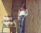 1970s Mexican shirt / hippie / white / red / black / hand made / bandana print / wide collar / peasant / size small to medium / thin cotton