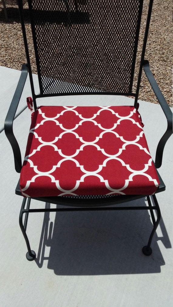 Items Similar To Red And White Geometric Fabric Custom Chair Cushion Cover O