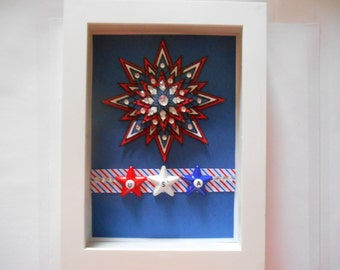 Red, White, and Blue, 3D USA Patriotic Shadow box