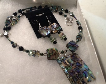Abalone Necklace, and Earring Set