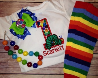 The VERY Hungry Caterpillar Inspired Birthday Shirt  Set, Shirt, Necklace, Bow, tutu