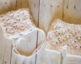 Newborn Lace Bonnet and Short Set, Newborn Photo Prop Set, Newborn Photography Bonnet and Shorts, Winter White, Cream, Ready to Ship