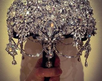 Black Diamond Bridal Brooch Bouquet. Bridal accessory. Wedding Jewelry. Flowers for bride. DEPOSIT