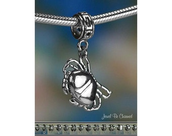 Crab Charm or European Style Charm Bracelet 3D Sterling Silver .925