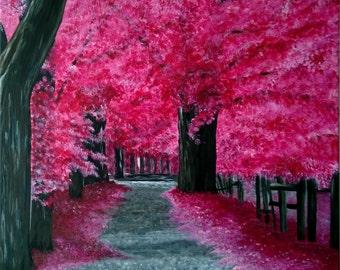 Cherry Blossoms, Original Acrylic by Australian Artist, Ann Maree Zamp