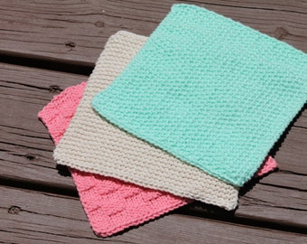 Handknit Textured Cloths in Strawberry Mojito (Set of 3)