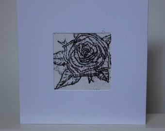 Black Rose - A5 Original Monoprint White Card