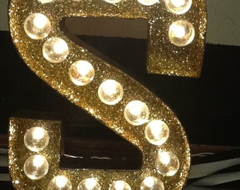Marquee Letter-12 in Marquee Letter with glitter and bulbs-Chose any letter-Lighted Marquee with bulbs-Light up Marquee Letter