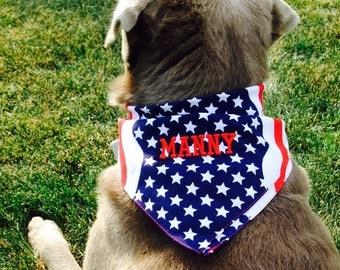 Patriotic Stars and Stripes Dog Bandanna