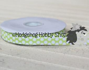 """7/8"""" grosgrain ribbon, grosgrain ribbon, polka dot ribbon, craft supplies, hairbow supplies,"""
