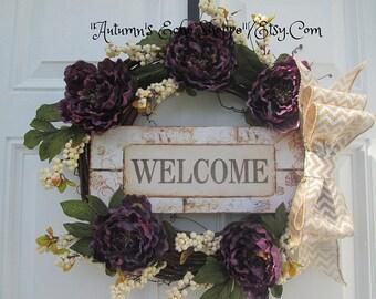 WELCOME FLORAL  WREATH....Spring Door Wreath...Spring Decor Wreath...Mother's Day Gift Wreath..Housewarming Gift Wreath..Interior Decor