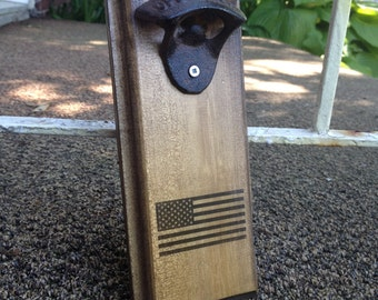 Rustic Wall Mount Wood Bottle Opener - American Flag - Patriotic - Independence day