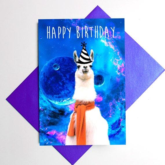 Llama Birthday Hat Space Happy Funny By Memeskins
