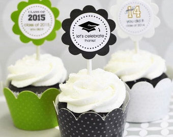Graduation Cupcake Wrappers-Graduation Cupcake Toppers-Personalized Graduation Party Supplies-Graduation Decorations (set of 24)
