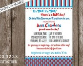 Seuss Inspired Baby Shower Invitation, Geder Neutral shower invitation, DIY Printable, Red Aqua, stripes and dots