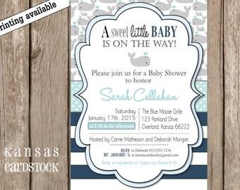 Baby Shower Invitation, Nautical baby shower, Whales baby shower, Gray aqua blue, DIY, custom invitation