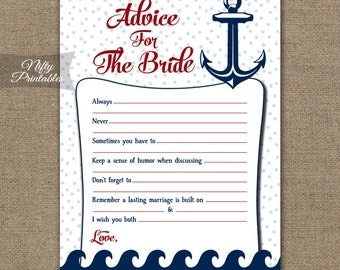 Bridal Shower Advice Cards - Nautical Advice For The Bride - Nautical Bridal Advice Shower Game - Red White Blue Printable Bridal Games RNT