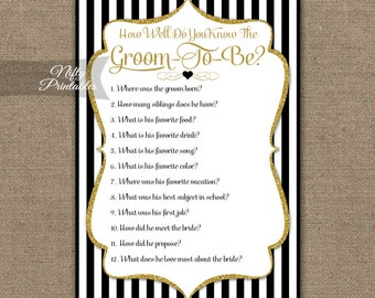 How Well Do You Know The Groom - Wedding Shower Trivia Game - Black Gold Glitter Bridal Shower Game - Printable Black White Groom Game BGL