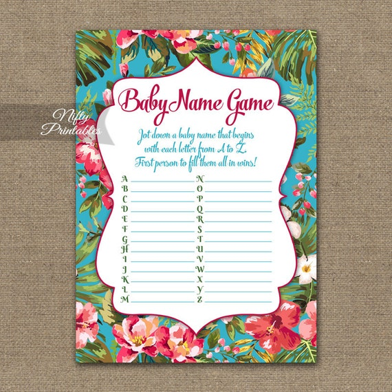 baby name game luau baby shower game hawaiian floral neutral the