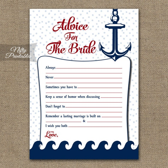 Bridal Shower Advice Cards Nautical Advice For The Bride