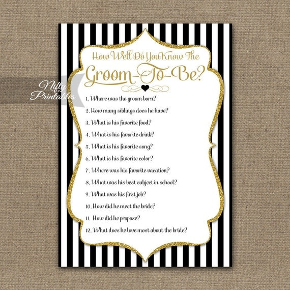 How Well Do You Know The Groom Wedding Shower Trivia Game