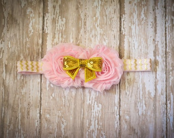 Pink and Gold Chiffon Flower Headband